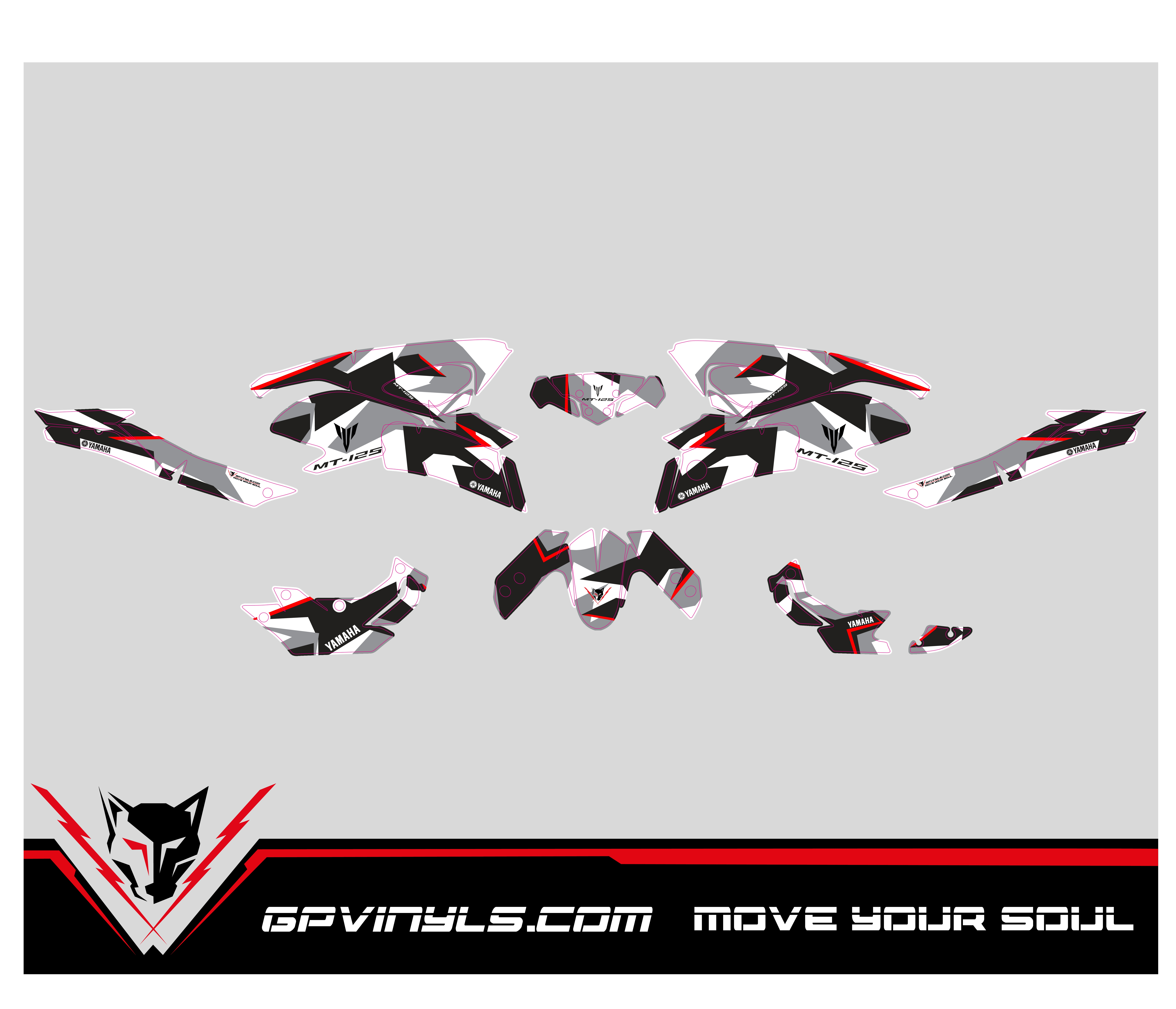 Yamaha mt 125 decals · stickers mt 125 red