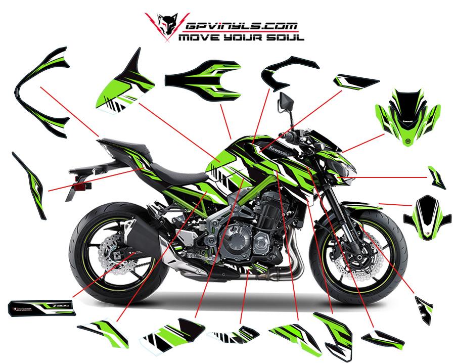 Kit Adhesivos Kawasaki Z900 Quot Green Quot Gpvinyls