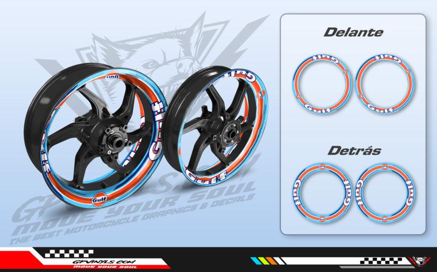 Wheel decals motorcycle gulf