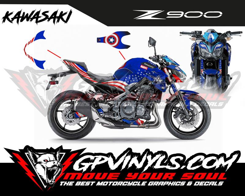 Kit vinilos Kawasaki Z900 Capitan America